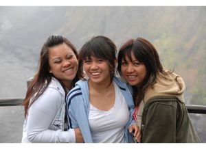 huddling together in front of the scenic spots of the Volcano Park